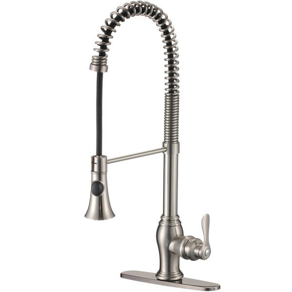 Pull Kitchen Faucet Overstock Shopping Great Modern Satin Nickel Spiral Pull Kitchen Faucet Overstock