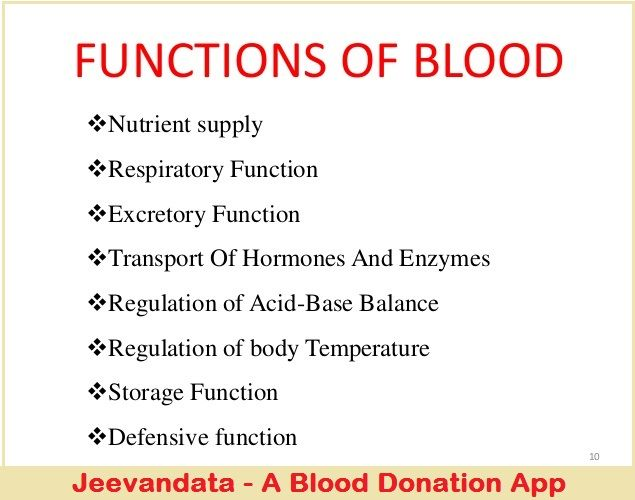 Functions of blood - It supplies essential nutrients to cells, such