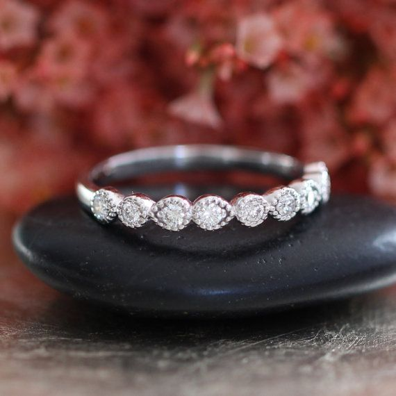 Vintage Style Half Eternity Diamond Wedding Band by LaMoreDesign
