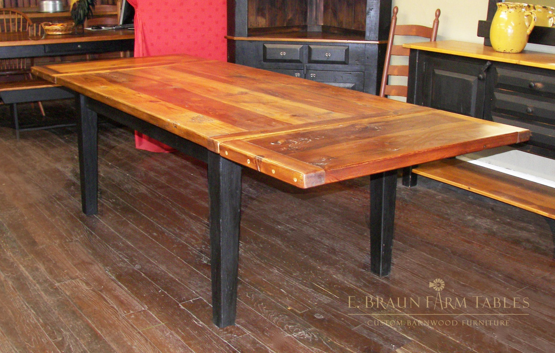 reclaimed yellow pine table crafted by E. Braun Farm