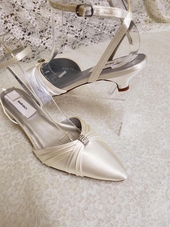 Shoes Closed Toes Very Low Heelwhite Ivory Wedding Pointy Low Etsy Wedding Shoes Heels Kitten Heel Wedding Shoes Wedding Shoes Low Heel