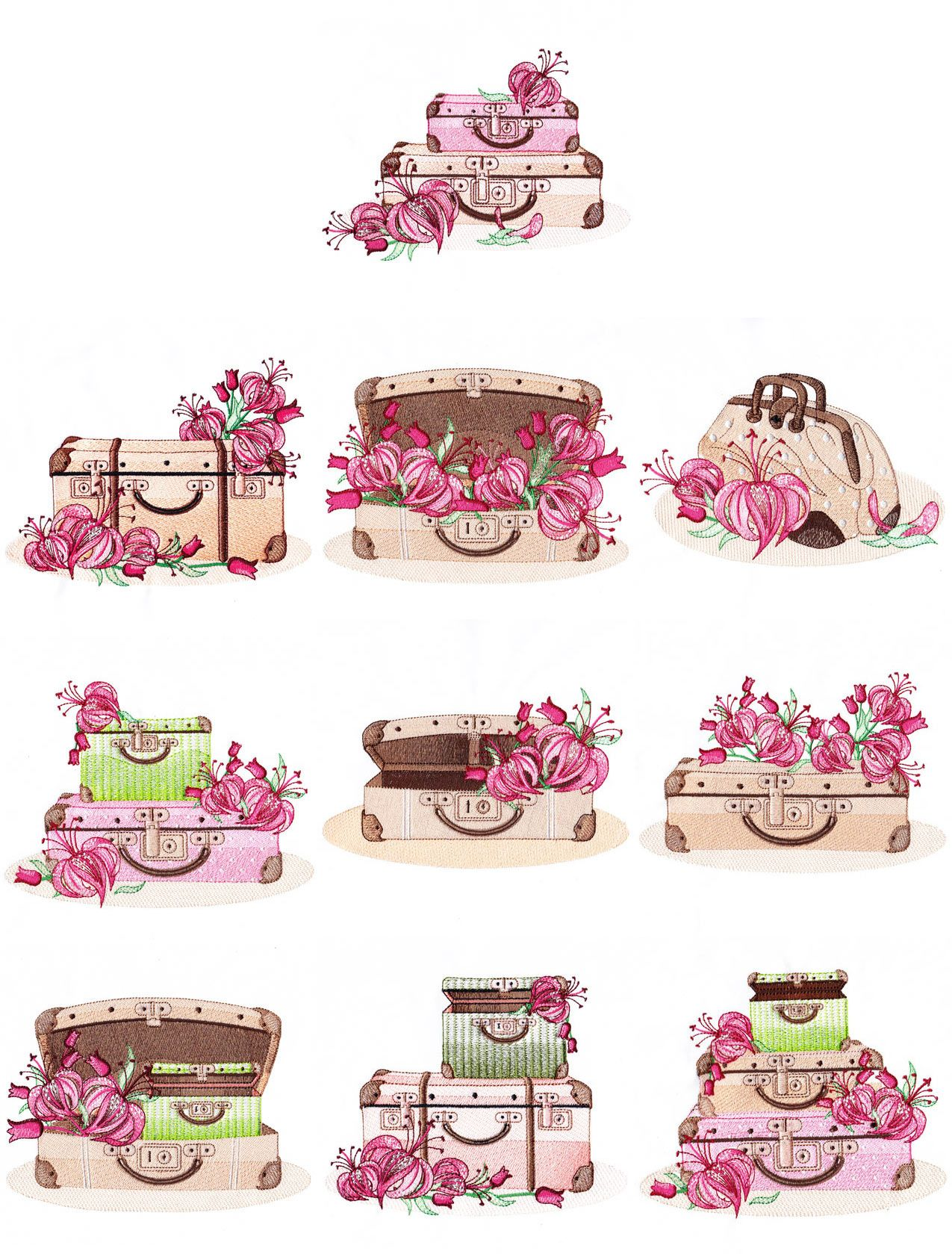 Vintage Suitcases (5x7) | Embroidery Delight | Your source for all embroidery designs, Applique, Quilt Blocks, Animal, Floral, Lacework, etc.
