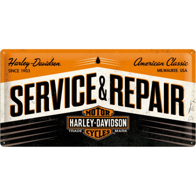 Plaque métal Pub harley service, multicouleur l.50 x H.25