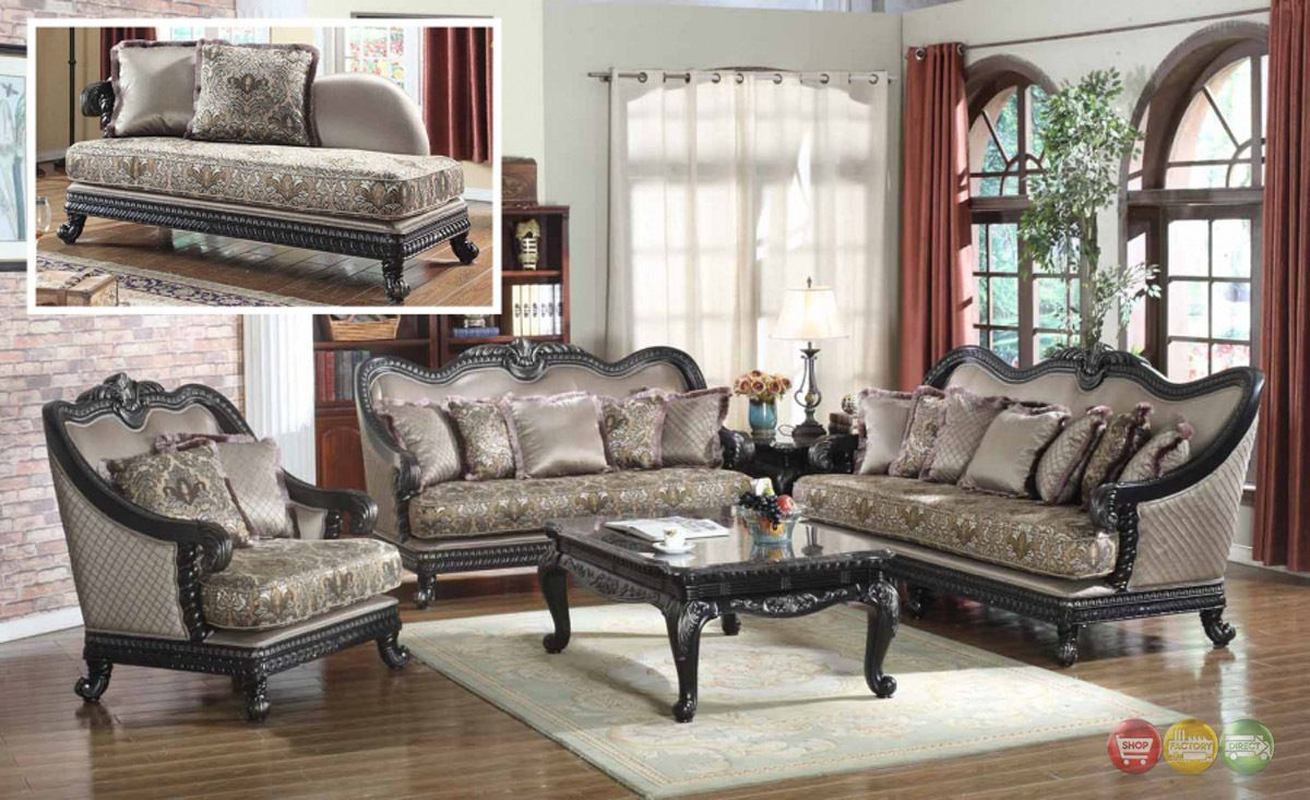 Traditional european design formal living room luxury sofa set dark wood frames ebay