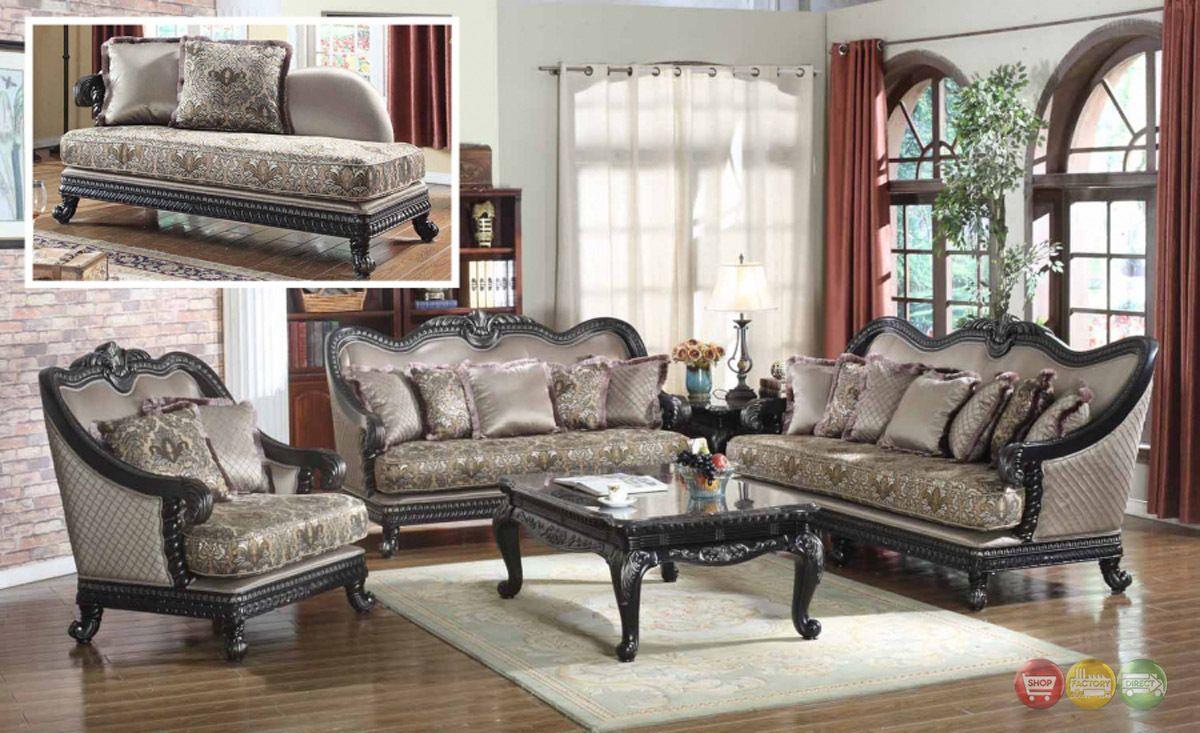 Traditional european design formal living room luxury sofa set dark wood frames ebay