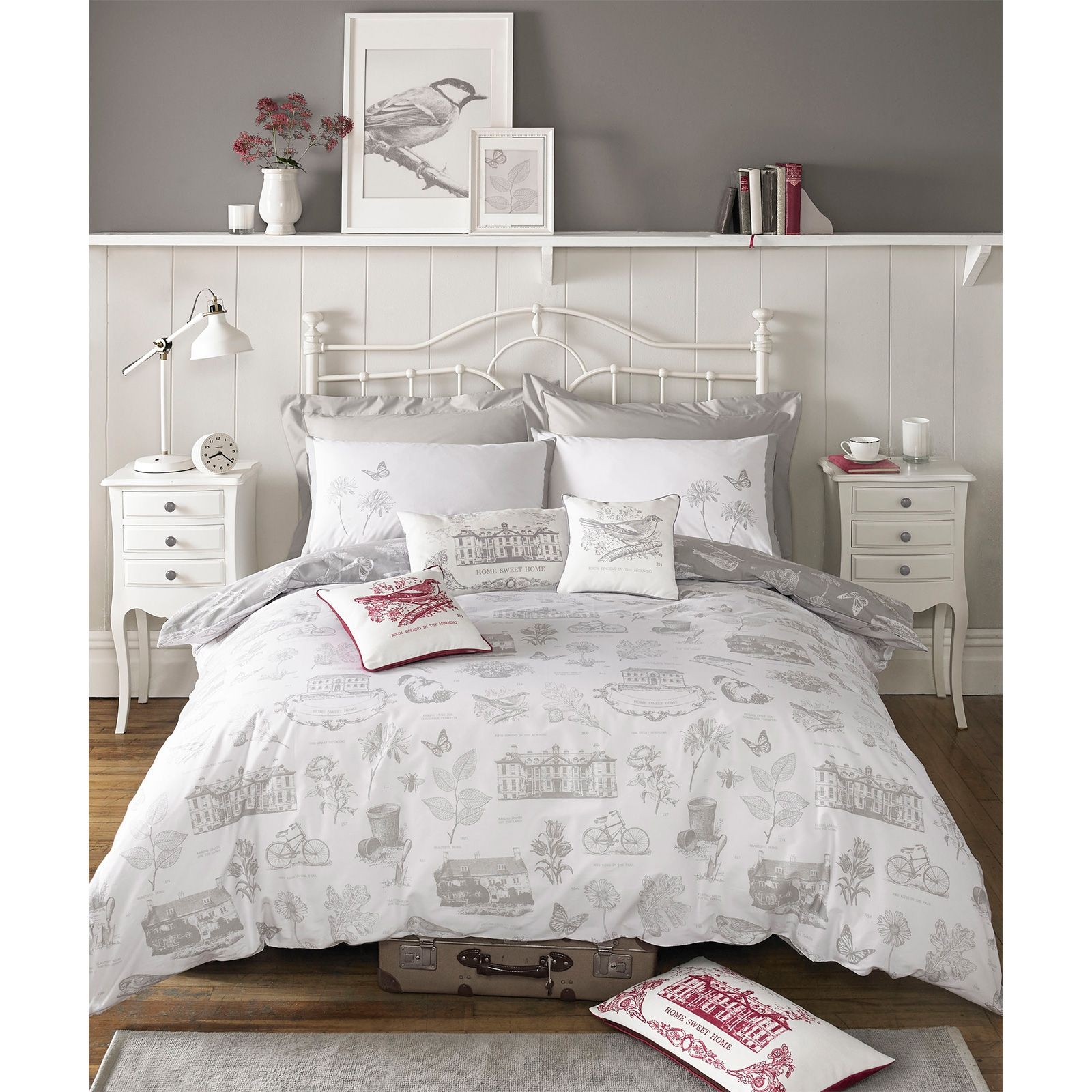 kirstie allsopp harriet bettw sche 180 faden baumwolle vintage toile kieselgrau schlafzimmer. Black Bedroom Furniture Sets. Home Design Ideas
