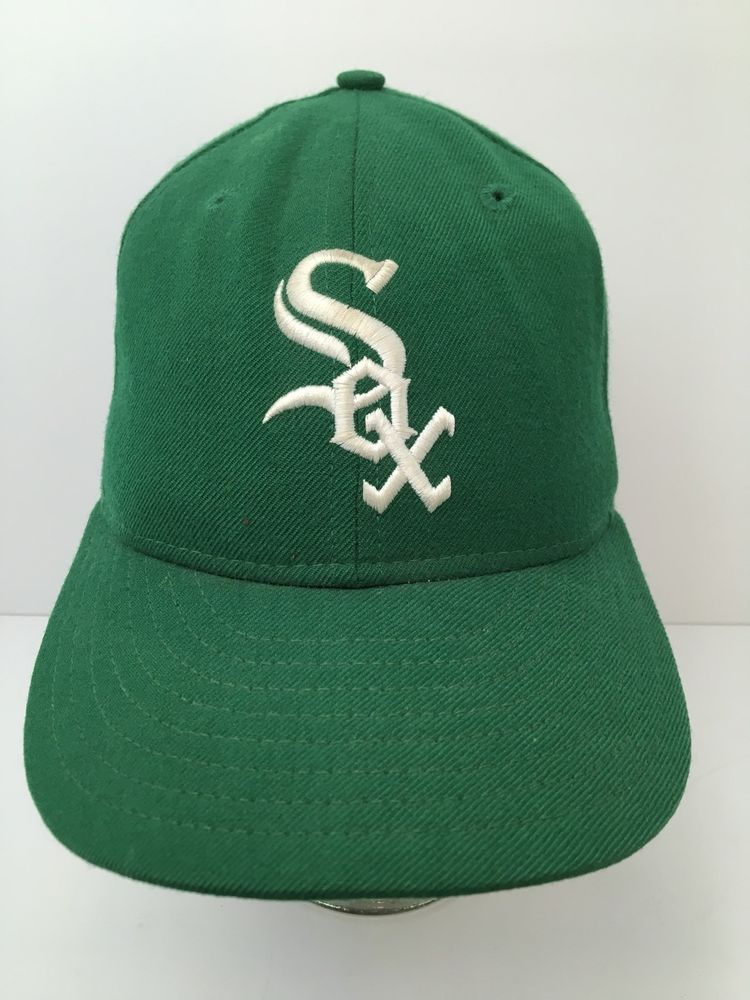 0689bffd1a5 Vintage Green Wool Chicago White Sox Hat 59 50 Pro Model Fitted Cap 6 7 8  USA  NewEra  ChicagoWhiteSox