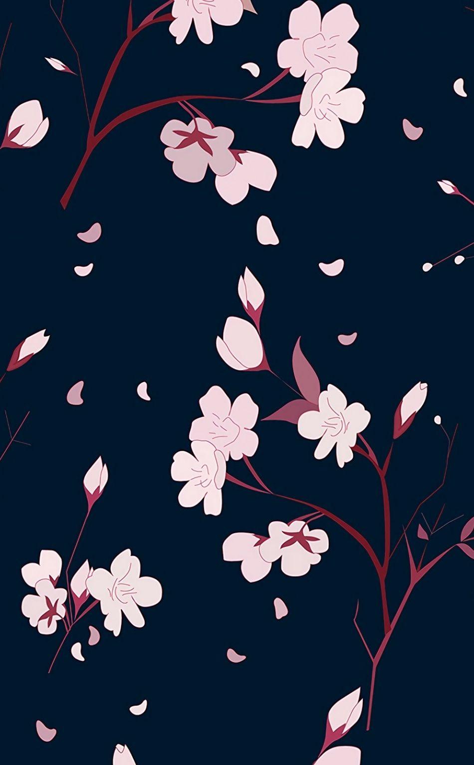 Pink flowers, digital art, pattern, abstract, 950x1534 wallpaper