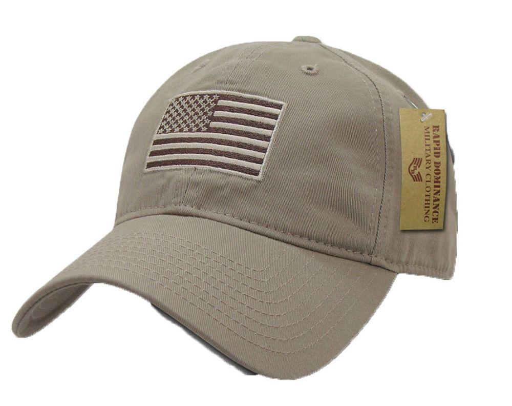 Khaki Us Flag Patch United States American Patriotic Polo Baseball Cap Hat Rapiddominance Baseballcap
