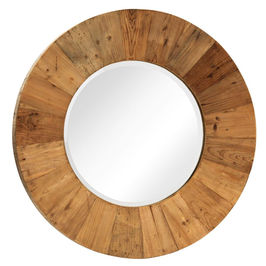 Reclaimed Wood Round Mirror Small
