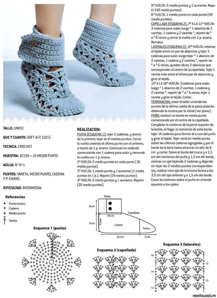 Домашние тапочки крючком | zapatos | Pinterest | Zapatos, Zapatos ...
