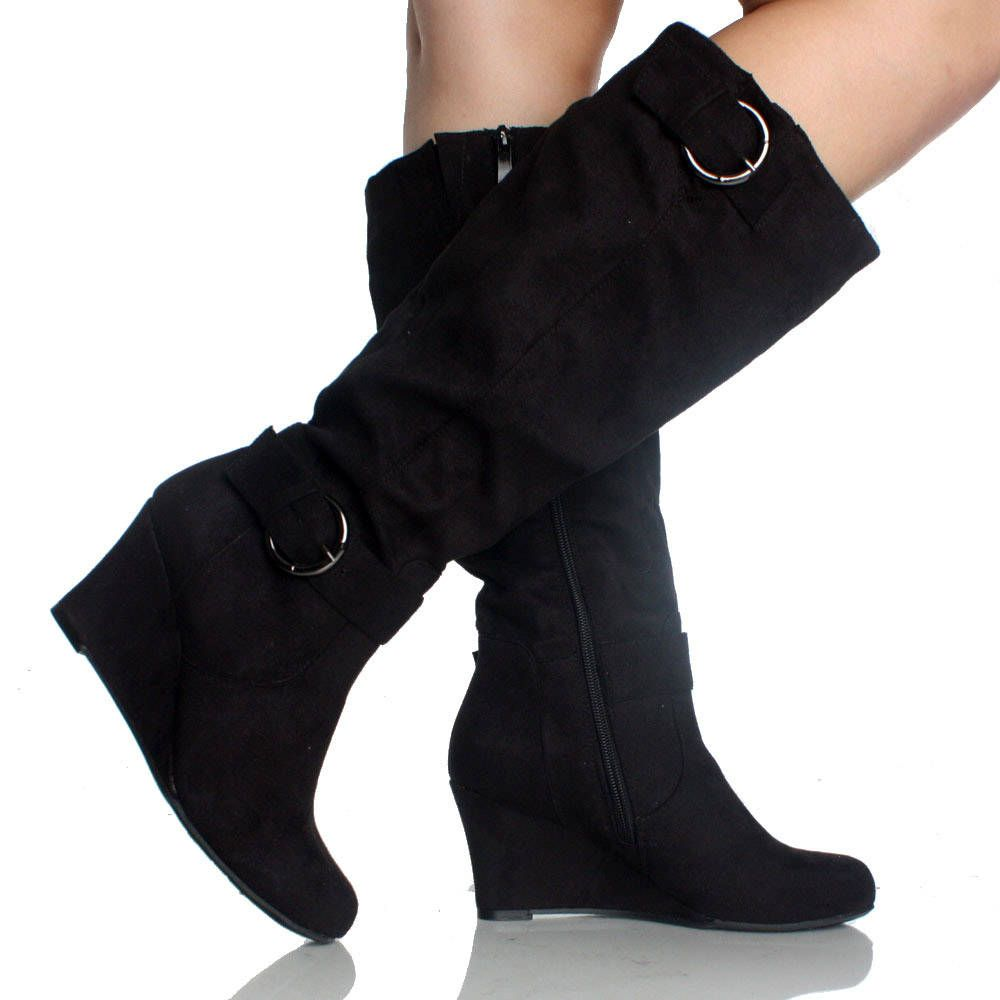 Black Wedge Boots Tall Buckle Faux Suede Classic Fashion Womens ...