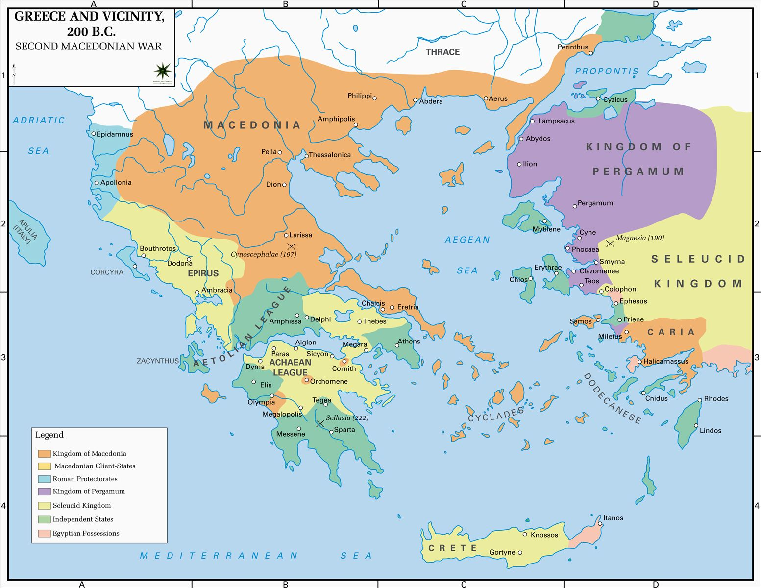 Map Of Greece And Vicinity 200 Bc Greece Map Historical Maps