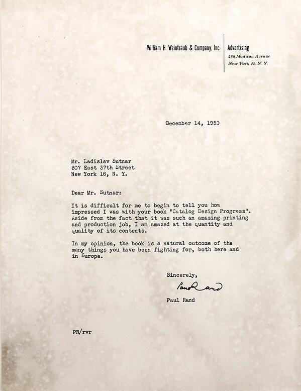 Paul Rand to Ladislav Sutnar, 1950.
