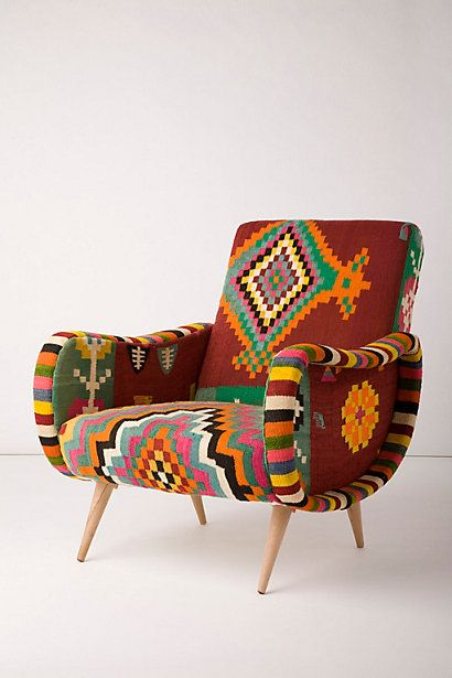 Recycled Kilim Rug Upholstered Chair