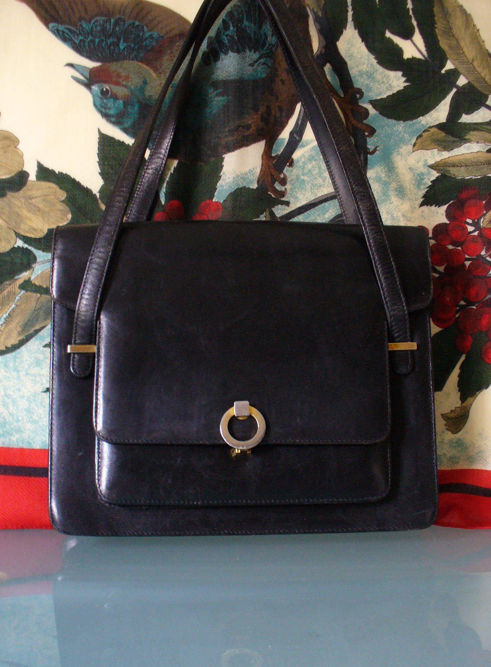 fa7cdbf80df1 Vintage Bally Black Made in Italy Handbag by EurotrashItaly on Etsy