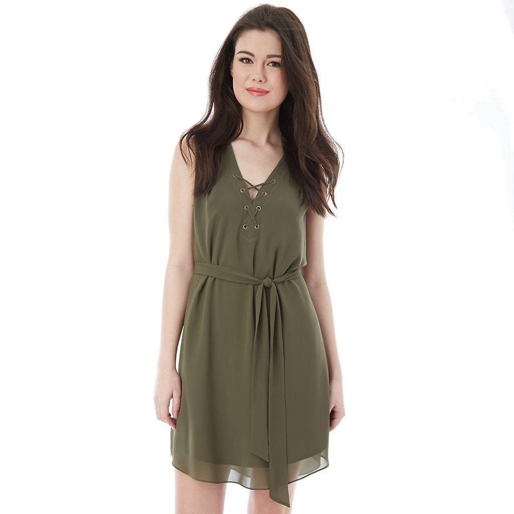 Green lace up dress  Juniorsu IZ Byer California Solid LaceUp Dress  dresses etc
