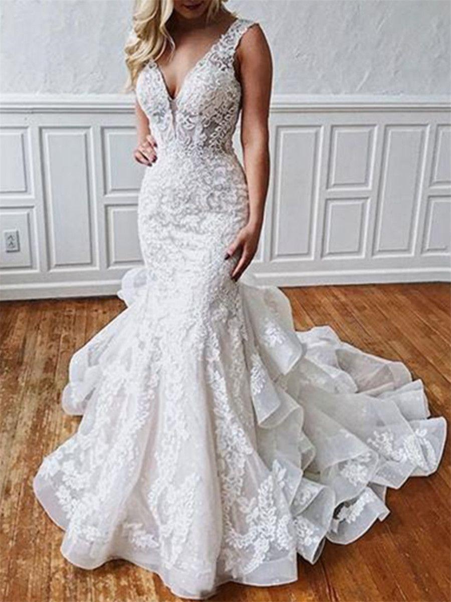 Open Back Ruffles Appliques Mermaid Wedding Dress 2019 in