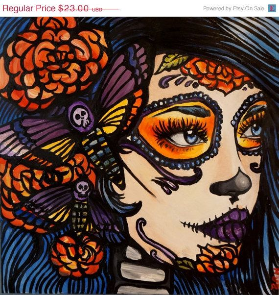 Dia De Los Muertos Stretched Canvas Print 20 By 20 In Lowbrow Tattoo Home  Decor Deaths