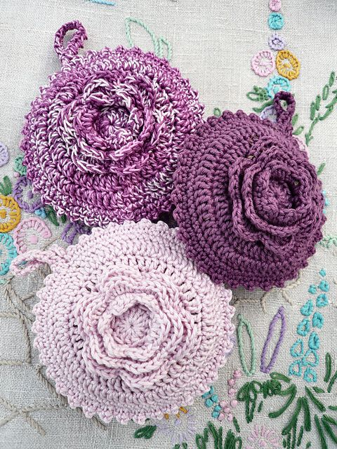 Crochet Rose Lavender Sachet Free Pattern Downloaded And