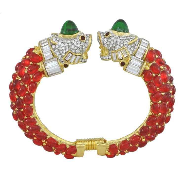 Kenneth Jay Lane Ruby Double Lion Head Bracelet | SOPHIESCLOSET.COM | Designer Jewelry & Accessories