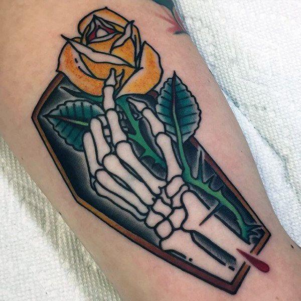 Skeleton Holding Hands Tattoo 90 Coffin Tattoo Designs For Men