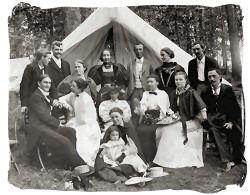 Camping 1900's style.  Spiritualist Camp at Fraser's Grove, Vicksburg, MI. Vicksburg Historical Society photo. Vicksburghistory.org.