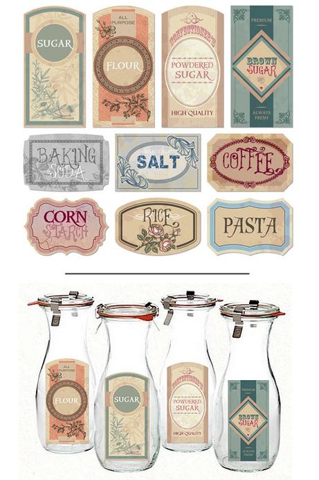 Vintage farmhouse printable pantry labels printable decor for Classic house labels