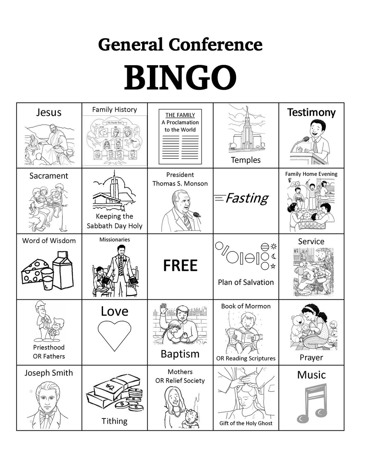 Free Download General Conference Bingo