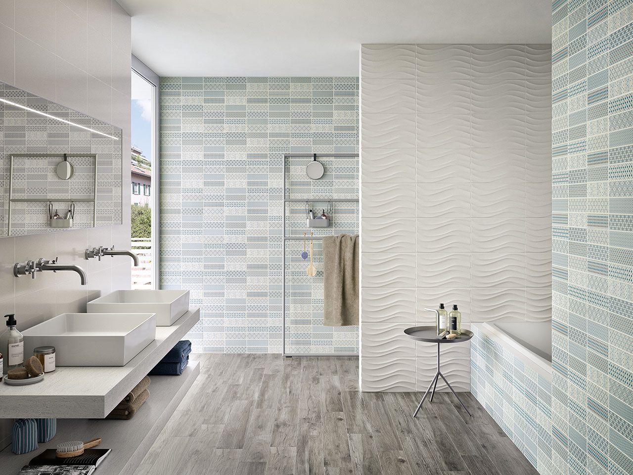 Rivestimento bagno in bicottura serie pattern blue formato