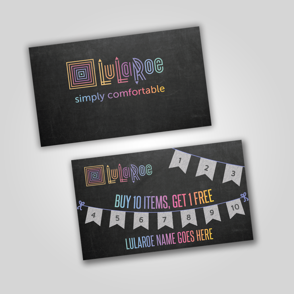 LuLaRoe Punch Card - Chalkboard with flags | Free and Business