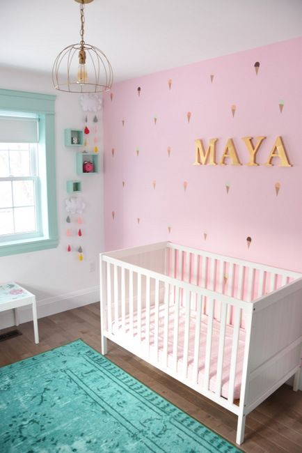 Maya S Mint And Pink Nursery Get The Look Baby Girl Nursery Room Nursery Room Design Baby Nursery Room Design