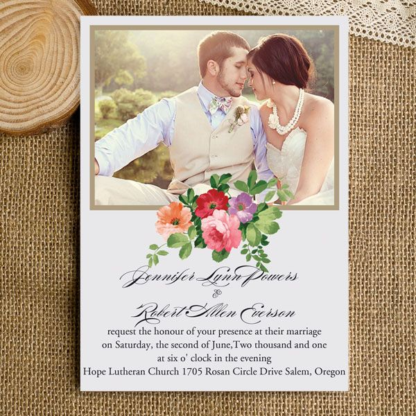 Inexpensive Photo Wedding Invitations Rustic Boho Flowers EWI315 As Low 094