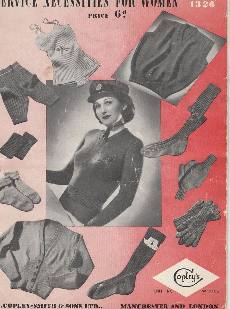 Vintage 1940s Women s WARTIME FORCES SERVICE CLOTHING Knitting ...