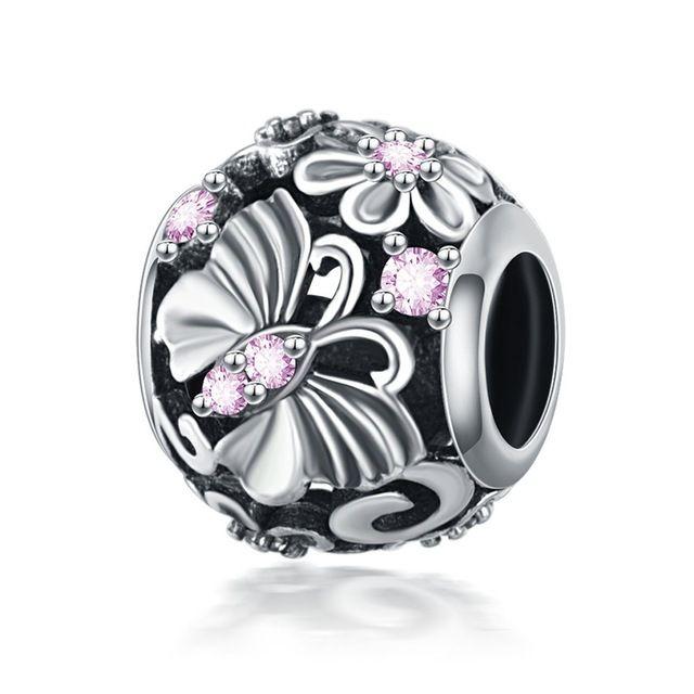 Who Sells Pandora Jewelry: Devolove 925 Sterling Silver Charms Pink Enamel Flower