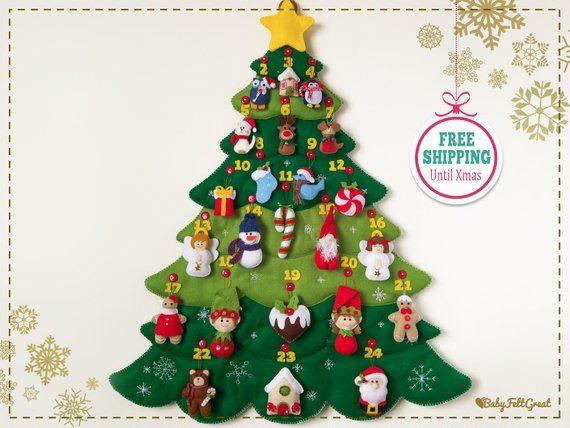 Felt Christmas Tree Advent Calendar, 25 Handmade Stuffed
