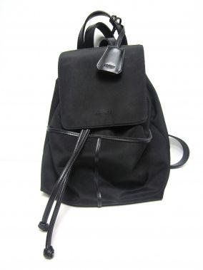 ESPRIT BLACK BOHO CYLINDRICAL DRAWSTRING BACKPACK STYLE PURSE $49.99
