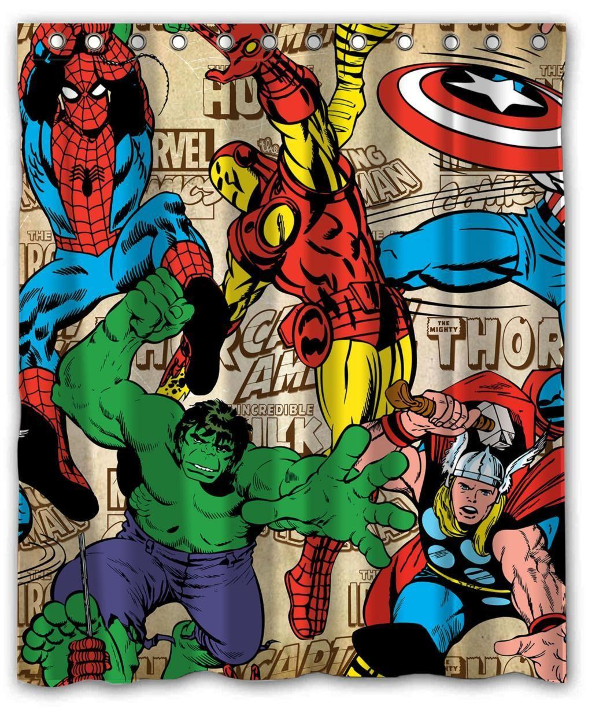 Super Hero Shower Curtain Comic Book Wallpaper Marvel Comics Superheroes Superhero Background