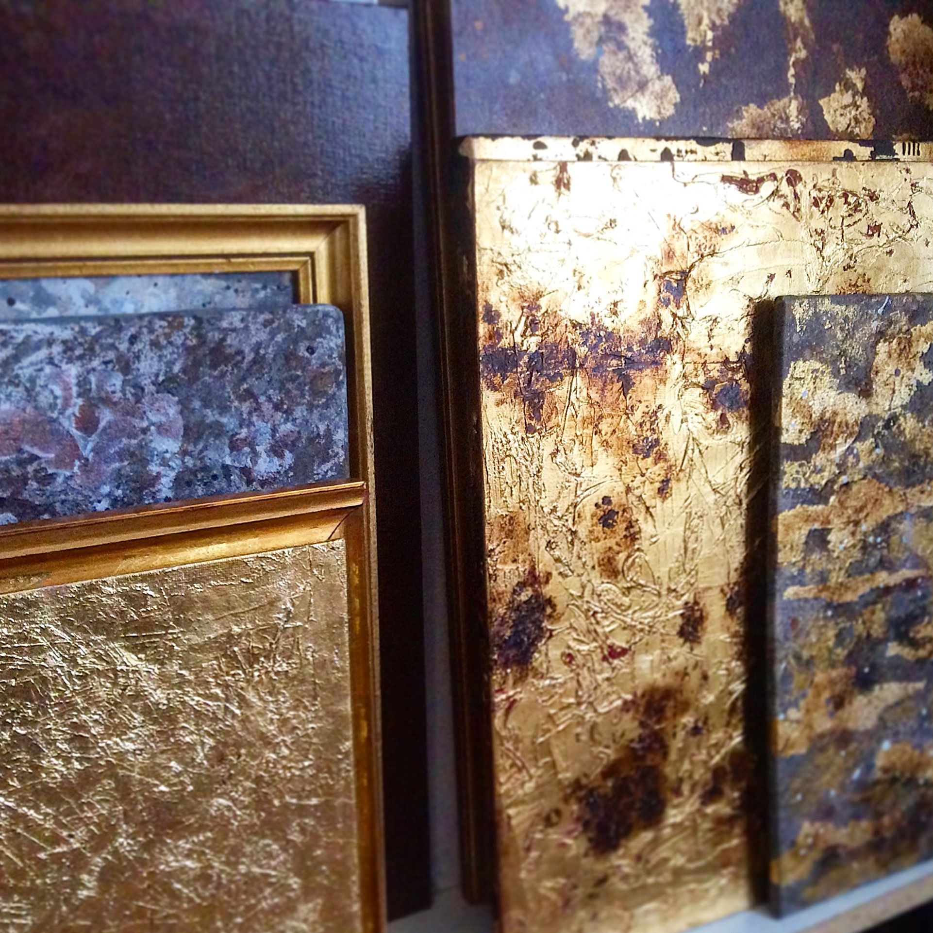 paintings gold leaf art abstract abstrait grmorel