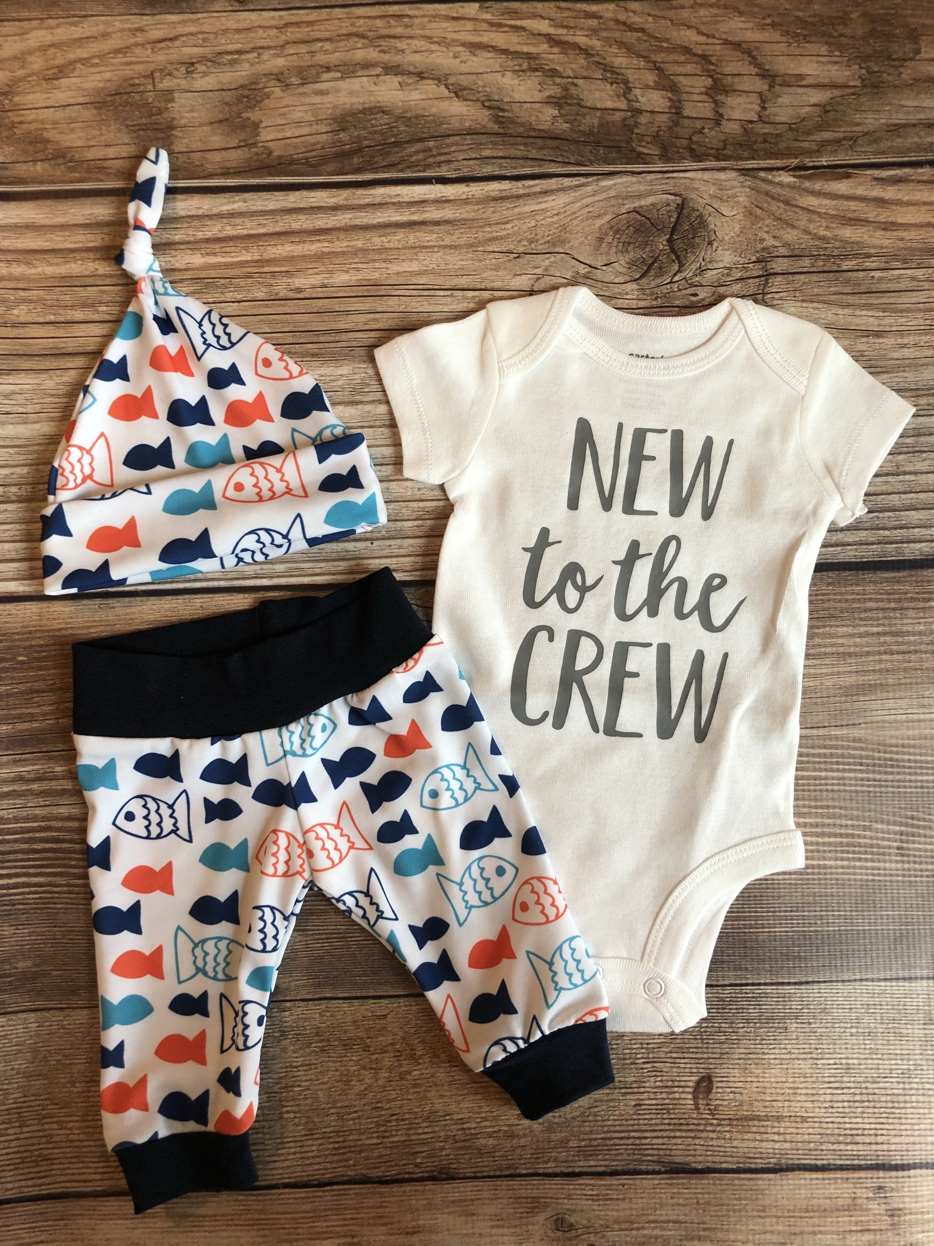 New to the Crew Blue and Orange Fish Newborn Outfit, fishing