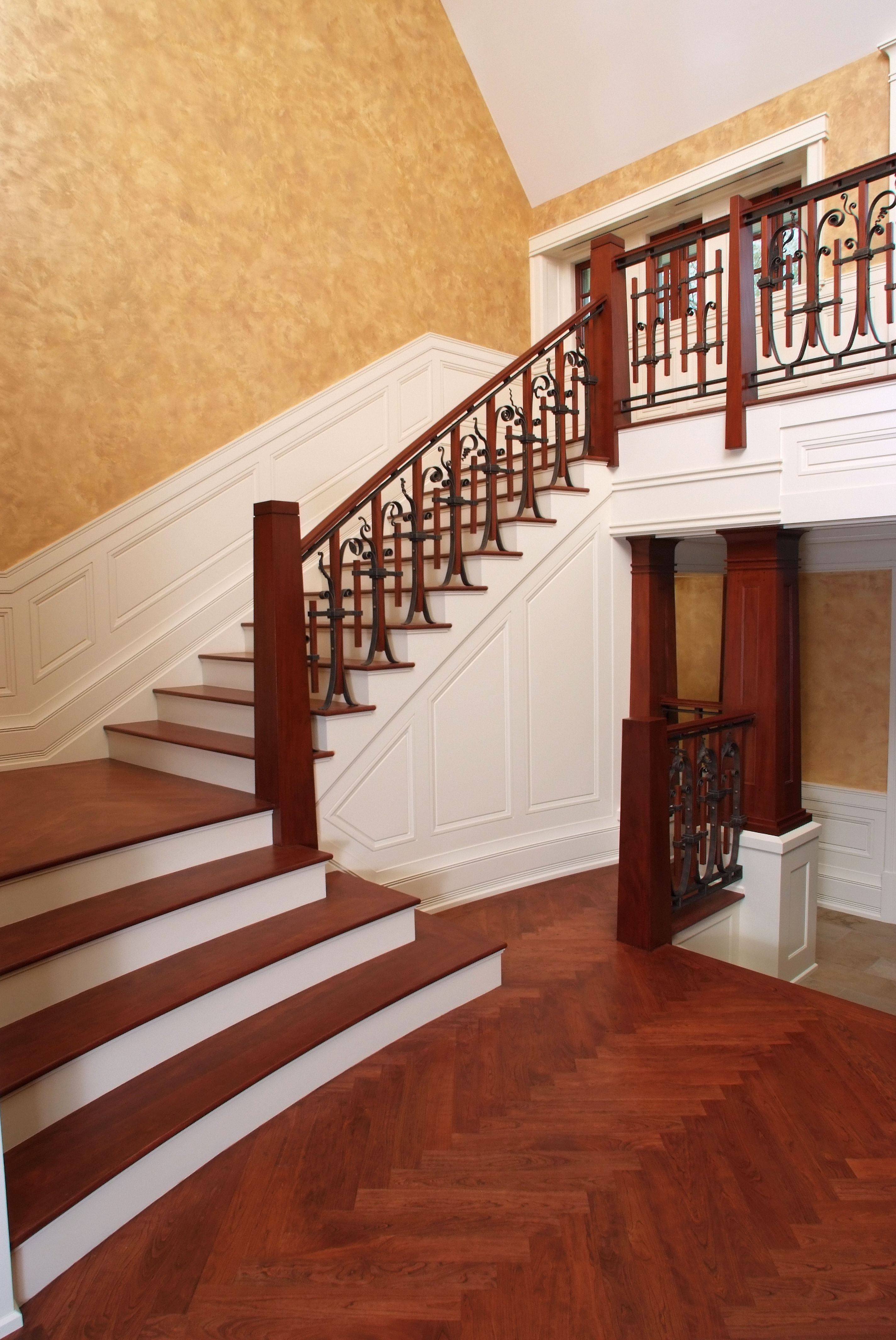 Custom Mahogany Staircase With Cherry Stair Treads And