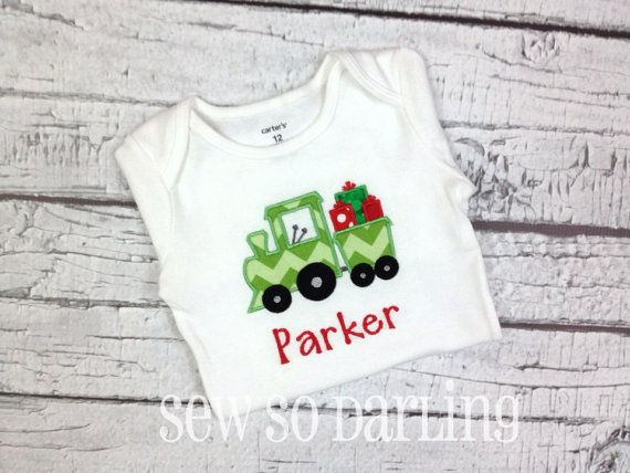 67b32b6f8 Baby Boy Christmas Outfit Christmas Train Shirt by SewSoDarling ...