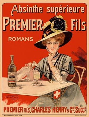 Premier Fils by Van den Thurm 1898 France - Vintage Poster Reproductions. French wine and spirits poster features a woman in a fancy hat sitting at a table pouring a drink against a red background.