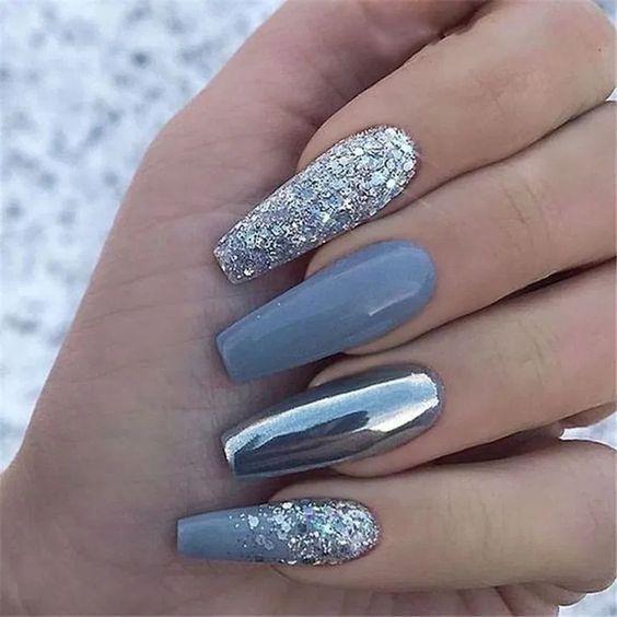 Nail Design 2020 Nails Ideas For 2020 In 2020 Blue Glitter Nails Glitter Nail Art Glam Nails