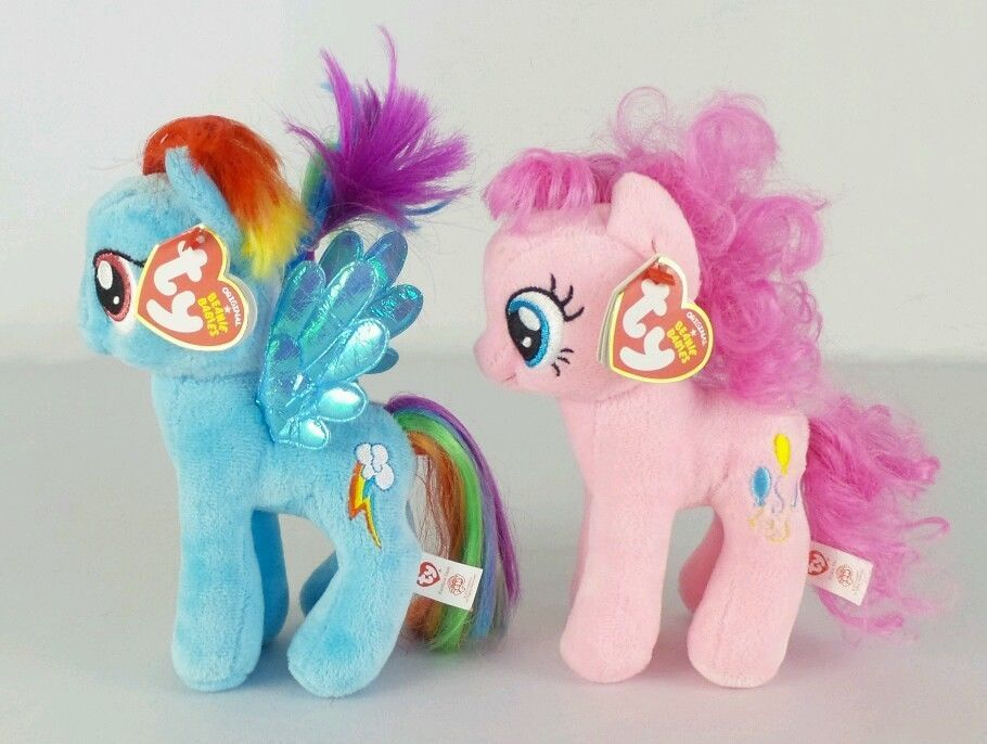 5f7b179ce81 Ty Beanie Baby MY LITTLE PONY Rainbow Dash   Pinkie Pie 2013 Plush Doll NWT