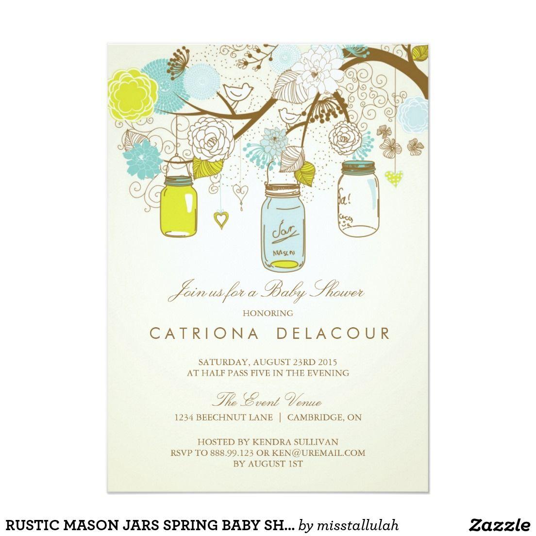 Rustic mason jars spring baby shower invitation   Shower invitations