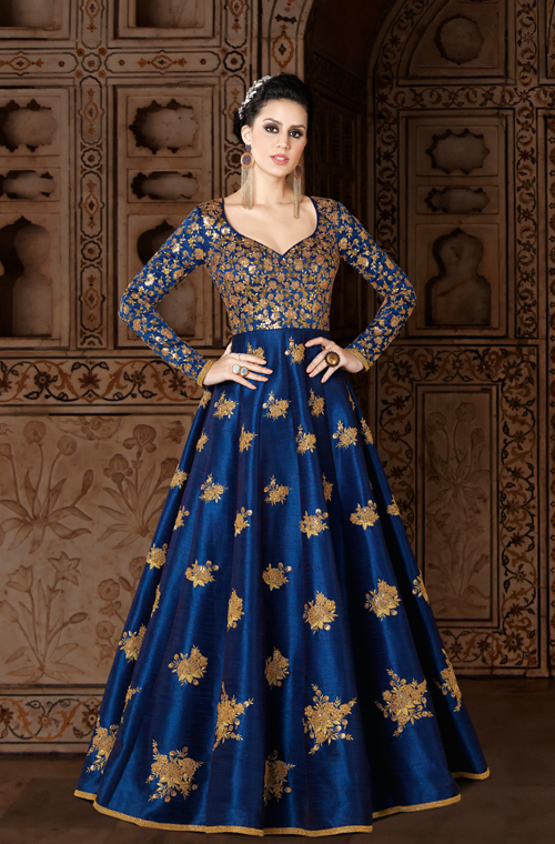 48068998aa Royal Blue   Gold Designer Embroidered Silk Anarkali Gown in 2019 ...