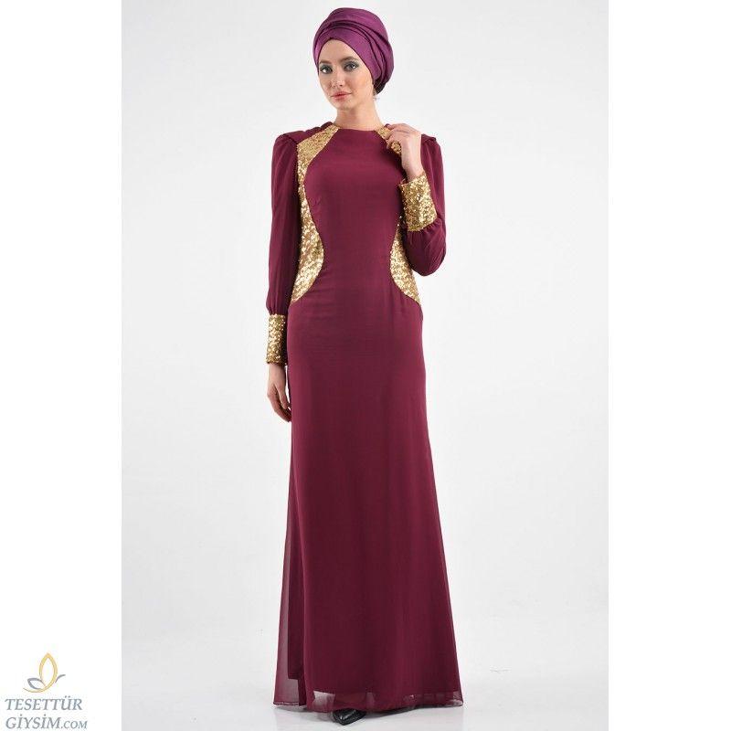 Nayla Collection - Payet Detaylı Mürdüm Elbise