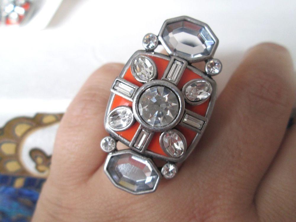 LIA SOPHIA RED CARPET COLLECTION ORANGE COMPASS RING, SIZE 7, GORGEOUS RING #Jewelry #Liasophia #Fashion