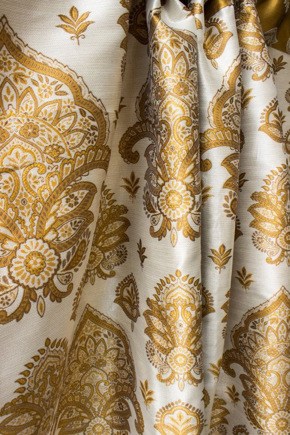 Caramel White Moroccan Curtain Panels Damask Custom Curtains 44